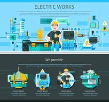 Elettricista One Page Design vettore