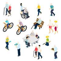 Insieme isometrico di vita dei pensionati vettore