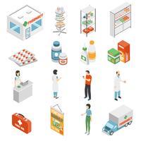 Collezione di icone isometriche concetto di farmacia