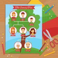 Poster piatto di lavoro manuale creativo dell'albero genealogico vettore