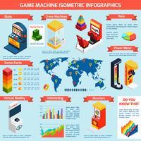 Insegna isometrica di Infographics delle macchine di divertimento del gioco