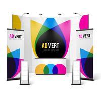 Esposizione Stand Design a colori vettore