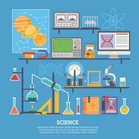 Banner piatto laboratorio di ricerca scientifica vettore