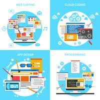 Set di icone di concetto di sviluppo Web vettore