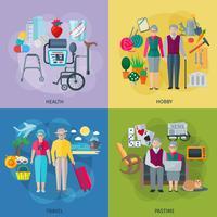 Set di icone di concetto di vita di pensionati