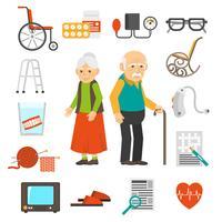 Set di icone piane di accessori di invecchiamento della gente