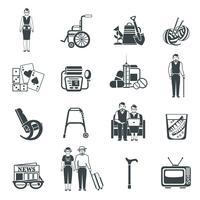 Set di icone bianche nere di pensionati vita