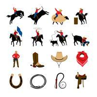 Icone di colore piatto Rodeo vettore