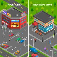 Banner verticale isometrica di edifici del negozio