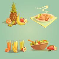 Insieme del fumetto di cibo sano e bevande vettore
