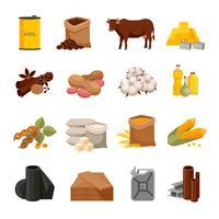 Set di icone piatte delle materie prime