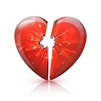 Icona del cuore di vetro rotto lucido rosso vettore