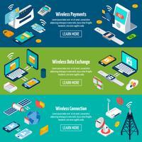 Set di banner isometriche tecnologie wireless