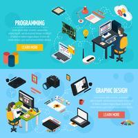 Bandiere isometriche di programmazione e di progettazione grafica