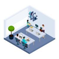 Insegna isometrica dell'ufficio dell'ambiente della gente di Coworking vettore