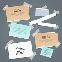 Set di fogli di carta adesiva vettore