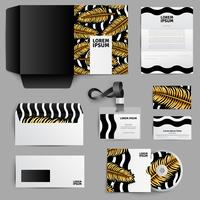 Design di identità aziendale con foglie di palma d'oro vettore