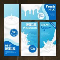 Set di banner per prodotti lattiero-caseari vettore