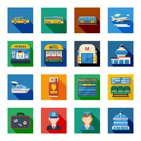 Icone quadrate piatta trasporto di passeggeri