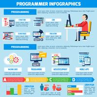 Layout piatto infografica programmatore