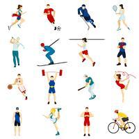 Set di icone di persone sportive vettore