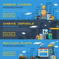 Set di bandiere orizzontali di riciclaggio di immondizia