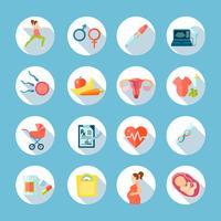 Set di icone rotonde gravidanza vettore