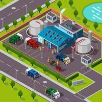 Concetto isometrico di impianto di riciclaggio vettore