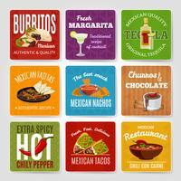 Set di etichette di cibo messicano vettore