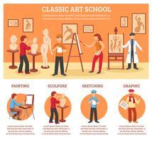 Set di infografica di arte classica vettore