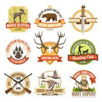 Emblemi di caccia a colori piatti vettore