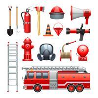 Set di icone di attrezzature e macchinari pompiere