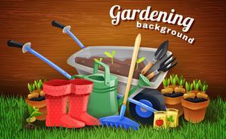 Sfondo di giardinaggio colorato con attrezzi agricoli