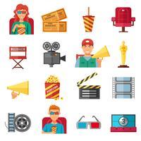 Collezione di icone decorative di colore piatto Cinema