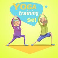 Cartone animato retrò di yoga vettore