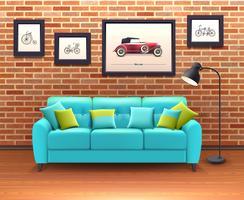 Interno con divano realistica illustrazione vettore