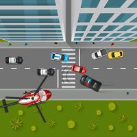 Illustrazione di vista superiore di inseguimento della polizia
