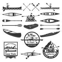 Set di elementi per il rafting in canoa e kayak vettore