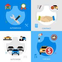 Concetto quadrato delle icone piane del concessionario auto