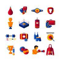 Collezione di icone piatto di boxe vettore