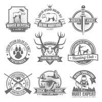 Emblemi di caccia neri impostati vettore