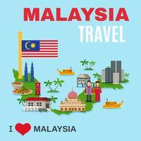 Poster piatto di agenzia di viaggi di cultura della Malesia