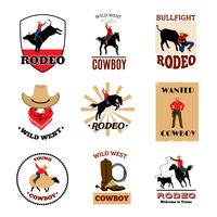 Emblemi Set Di Rodeo vettore