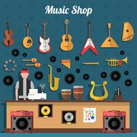 Illustrazione del negozio di musica vettore