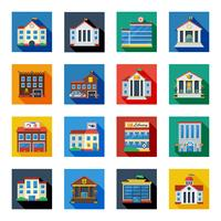Icone di edifici governativi in quadrati colorati vettore
