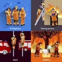 Vigili del fuoco People 2x2 Design Compositions vettore