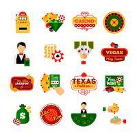 Set di icone decorative di casinò