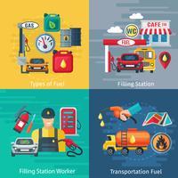 Set di icone di concetto stazione di carburante