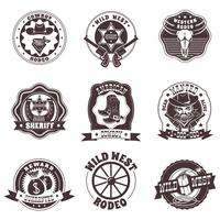 Set di etichette bianche nere di Wild West