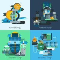 Set di produzione di energia piatta vettore
